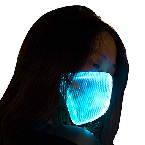 7 Colors Led Flashing Light Up Rave Dust Mask USB Rechargeable Luminous Fiber Optic Glowing Party Mask for EDM EDC Men Women Christmas New Year Festival