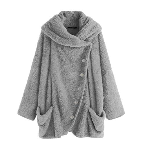 Lulupi Plüschmantel Damen Große Größe Plüschjacke mit Taschen, Frauen Teddy Fleecejacke Lose Warme Asymmetrische Jacke Mantel Winterjacke Outwear Cross-Over-Kragen