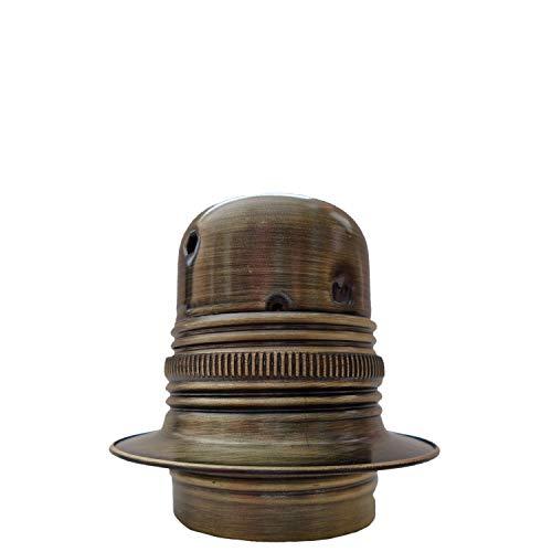 Attacco a vite Edison (E27) in metallo e ceramica portalampada in ottone anticato e terra per uso su lampade, ciondoli o lampadari Art déco E27 Bulb Holder With 10mm Threaded Entry