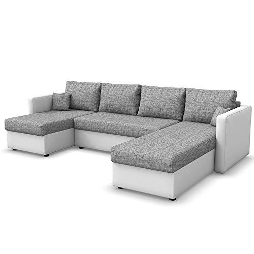 VitaliSpa Wohnlandschaft King Size 290 x 140 cm Weiß Grau - Sofa mit Schlaffunktion Schlafsofa Couch Bettfunktion Taschenfederkern Polsterecke