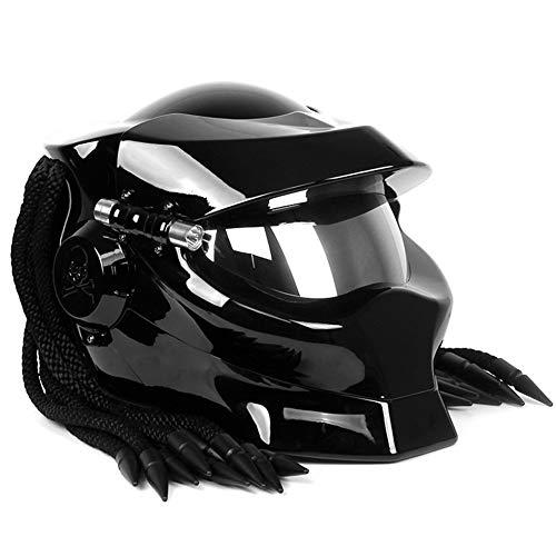 Wwtoukui Casque de Moto Predator Cool Noir Brillant,Guerrier Extraterrestre Lampe Décorative Casque Intégral avec Rabat Avant,Casque Certifié Dot ECE, Four Seasons Unisex,M