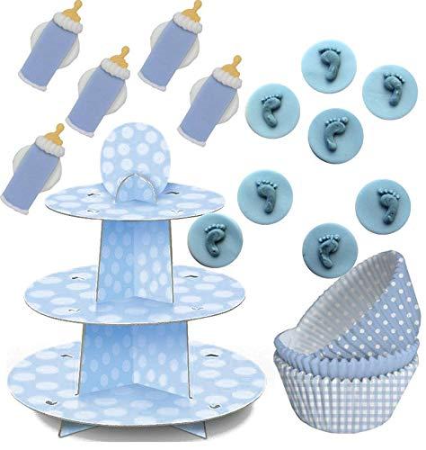 KPW Baby Shower - Set di Decorazioni per Muffin, 89 Pezzi, per Fino a 75 Cupcake, Colore: Blu
