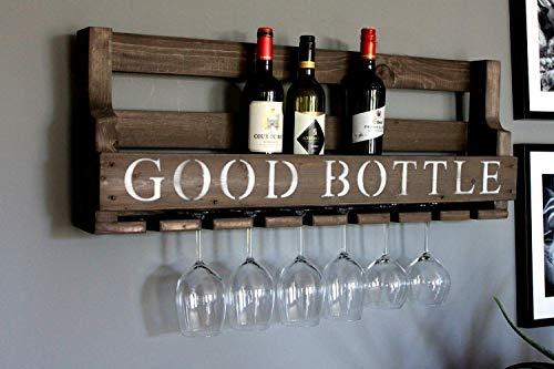 Weinregal aus Holz für die Wand - mit Gläserhalter und GOOD BOTTLE Schriftzug - Braun antik - fertig montiert - Regal für Weinflaschen und Weingläser