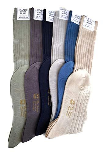 Candados Socks Milano 6 pares calcetines largos de hombre hilo de Escocia, 100% algodón con estrías, fabricado en Italia Set Colori Pastello 39/42 ES