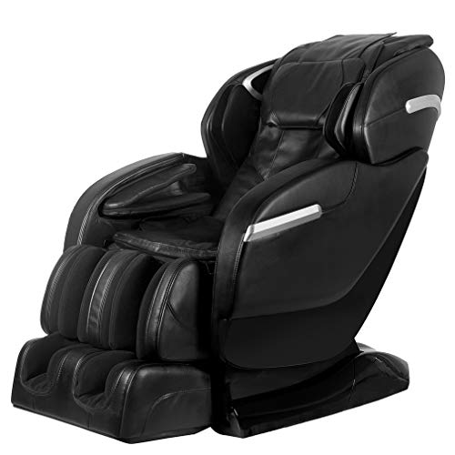 BestMassage Shiatsu Chair Recliner with Built-in Heat Therapy Foot Roller Airbag Massage System SL-Track Stretch Vibrating Wireless Bluetooth Speaker FDA Approved Black
