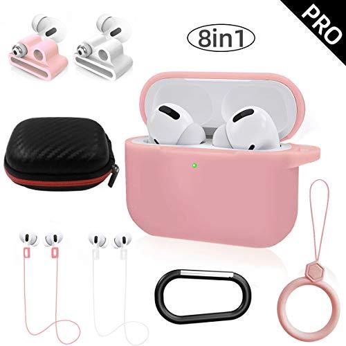 NANTING Kopfhörer-Fall-Schutzhülle für Airpods Pro, 8 in 1 für Kit Airpods Pro Zubehör, Silikonhülle für Apple Airpod Gen3 mit Ring/Armband Airpods Pro Halter/Schlüsselbund/Tragebox (Pink)