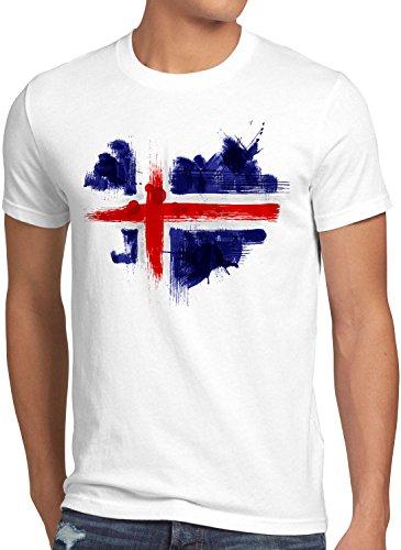 CottonCloud Flagge Island Herren T-Shirt Fußball Sport Iceland WM EM Fahne, Größe:S, Farbe:Weiß