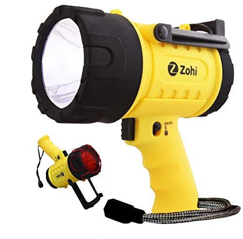 Zohi 1500 Lumen Super Bright Flashlight - Rechargeable Spotlight - Waterproof Submersible Boat Spot Light, Searchlight, LED Spotlight, Torch, Handheld Powerful Flashlights - USB Output Phone Charger