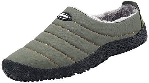 SAGUARO Invierno Al Aire Libre Zapatillas Caliente Slippers Interior Suave Zapatilla Mujer Hombres Casa Zapatos, Verde Militar 43