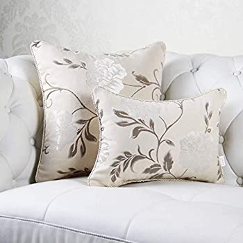 Beige 18  X 18  Inches Flannel Jacquard Cushion Cover Luxury Modern Throw Pillow Case Decorative Pillow for Sofa Living Room Bedroom Car  Beige 18  X 18