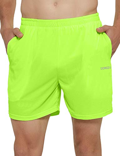 DEMOZU Men's 5 Inch Neon Running Shorts Ultra Lightweight Lined Breathable Athletic Workout Gym Exercise Shorts with Pockets, Neon Yellow, S