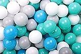 MEOWBABY 100 ∅ 7Cm Kinder Bälle Spielbälle Für Bällebad Baby Plastikbälle Kugeln zum Ball Pit Made Spielzeug für Kinderzimmer Made In EU Türkis/Weiß/Grau/Blau