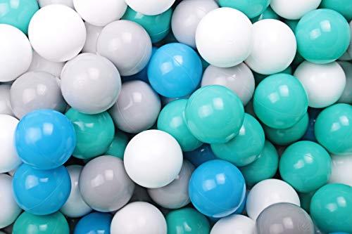 MEOWBABY 50 ∅ 7Cm Kinder Bälle Spielbälle Für Bällebad Baby Plastikbälle Made In EU Türkis/Weiß/Grau/Blau