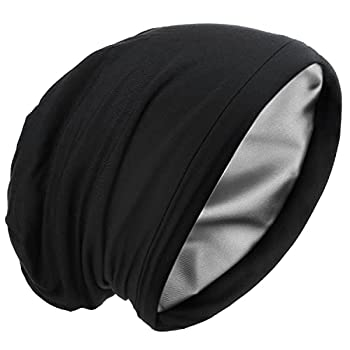 Satin Silk Lined Sleep Cap Frizzy Hair Beanie Adjustable Bonnet Slouchy Skull Night Cap Hair Protection Patients Care Hat Black