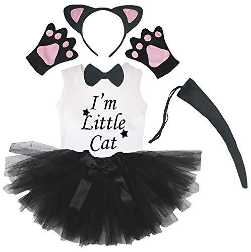 Petitebelle Diadema de cola de pajarita, 6 piezas, disfraz de nia (5-6 aos, gato negro y rosa)