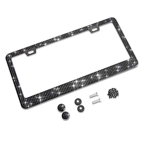 Shering Bling Glitter License Plate Frame, Elegant Giftbox with Handcrafted Crystal Premium Stainless Steel Bling…