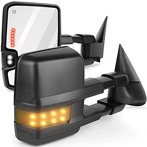 ANPART Towing Mirrors Fit for 2003-2006 Chevy Silverado GMC Sierra Pickup all models Tow Mirrors With A Pair LH and RH Side Power Regulation with Heating Turn Signal Lamp Clearance Puddle Light