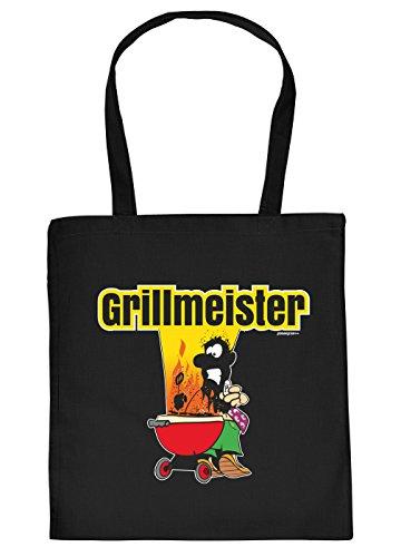 Griller Tasche Grillzubehör Tragetasche Grill : Grillmeister - Sprüche Baumwolltasche Grillen -Farbe: schwarz