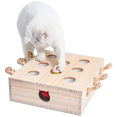 Cific モグラ叩き 木箱 猫じゃらし 知育 おもちゃ ペットグッズ (8穴)