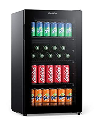 Miroco Beverage Refrigerator Cooler Beer Fridge, Drink Fridge with 3 Layer Glass Door, Removable Shelves, Touch Control, Digital Temperature Display, LED Light for Home Kitchen Bar Office, 3.2Cu.Ft