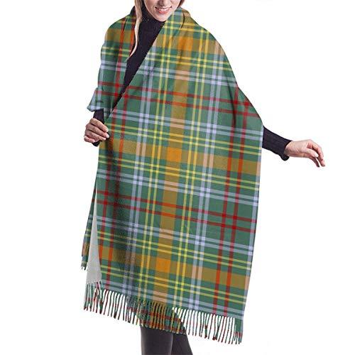 Vikimen Wickelschal Große Schals Fransenschal Scarf Womens Warm Winter Colorful Plaid O'Brien Tartan Print Classic Tassels Blanket