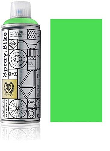 Fahrrad Lackspray in NEON Farben - KEINE GRUNDIERUNG notwendig - Acryllack/Lack Spray in 400 ml Spraydose, Matt- und Klarlack Optik möglich (Matt, Neon Grün)