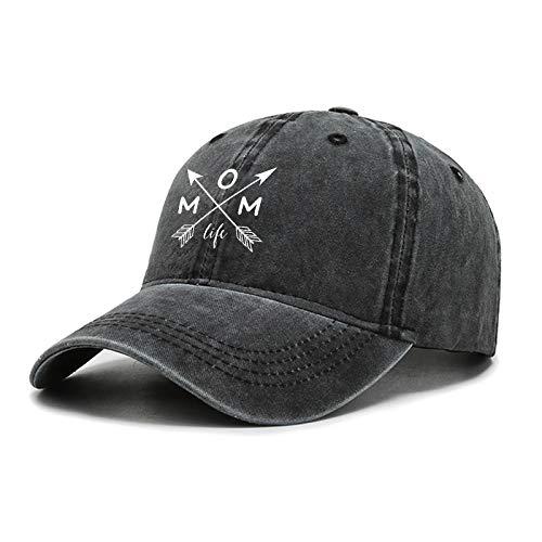 Mom Life Hat Verstellbare Baseballkappe Damen Vintage Washed Distressed Deniml Hat Cap Schwarz - Schwarz - Einheitsgröße