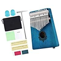 17キーカリンバサムピアノフィンガーピアノムビラチューニングハンマー付き楽器、学習ガイド、収納袋、クリーニングクロス、ステッカー - カラー3