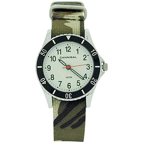 Cannibal Active Boys Analogue Green Army Camouflage Plastic Strap Watch CJ247-03