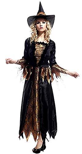 EVRYLON Hexenkostüm Verkleidung Karneval Spinnweben Hexe Zauberin Mittelalter Schwarze Farbe Erwachsene Frau Mädchen Einheitsgrösse Geschenkidee für Weihnachten und Geburtstag Halloween