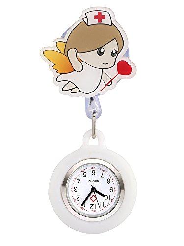 JSDDE Uhren Cartoon Engel Krankenschwester Uhr Pulsuhr Nurse Watch Kitteluhr Silikon Hülle Taschenuhr Schwesternuhr mit Clip (Weiß)