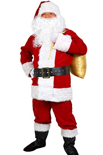 Soyoekbt Men's Santa Costume 10pc. Velvet Adult Santa Claus Christmas Costume X-Large Red