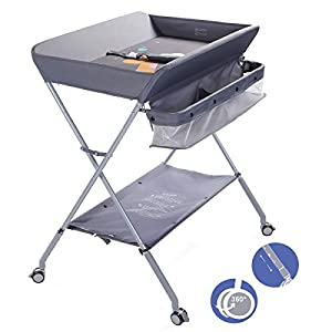 EGREE Baby Changing Table Portable Folding Diaper Changing Station with Wheels, Adjustable Height Mobile Nursery Organizer with Safety Belt and Large Storage Racks for Newborn Baby and Infant, Gray