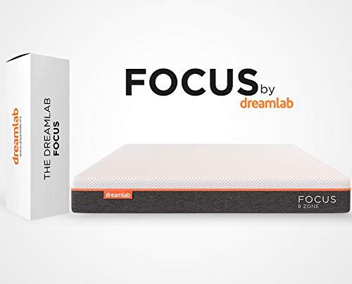 Dreamlab Focus, Colchón Ortopédico de Memory Foam con Gel y 9 Zonas de Soporte, Espumas Certificadas CertiPUR-US®, Soporte Firme, Tamaño Individual (100cm x 190cm x 20cm)