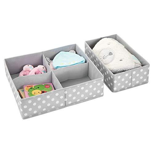 mDesign Juego de 2 cajas de almacenaje para habitaciones infantiles o baños – Cestas organizadoras en fibra sintética de lunares – Organizadores de armarios con 4 y 1 apartados – gris claro/blanco