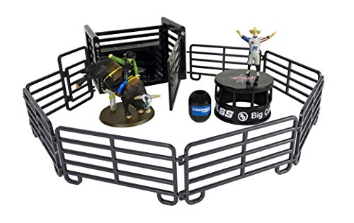 Big Country Toys 13 Piece PBR Rodeo Set - 1:20 Scale - Bushwhacker 2011 PBR Bull of the Year - Bull Fighter Frank Newsome - Bull Fighter Stage - PBR Bucking Chute - 7 Piece Corral Fence - Hand Painted