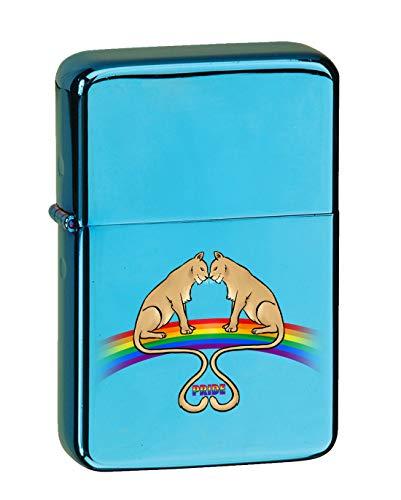 Hat Shark Lionesses on Rainbow Lesbian Pride LGBT Love KGM Thunderbird Vintage Lighter - Sparkle Blue