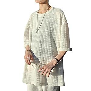 [BEIBANG]メンズ 半袖 Tシャツ 無地 ビッグシルエット ゆったり カジュアル 夏 サマーニット セーター クルーネック 薄手 シンプル カットソー 大きいサイズ 夏服(24ホワイト)