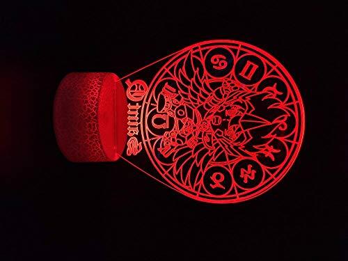 Saint Seiya Sagitario Coors Novela 3D LED Luz de noche USB Lámpara de mesa Niños Regalo de cumpleaños Decoración de la cabecera del hogar
