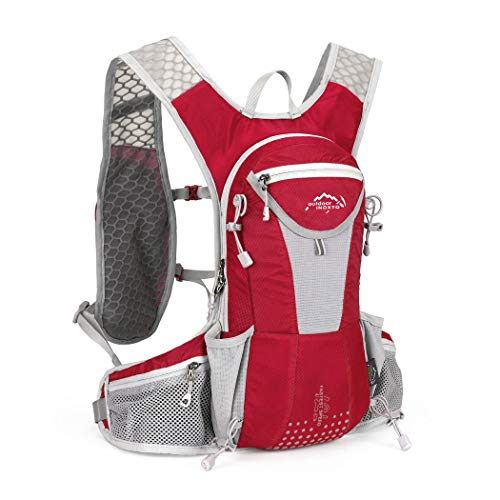 IBTXO Hydration Pack Backpack 12L Outdoors Marathoner Running Race Hydration Vest with Water Bladder for Hiking Skiing Running Cycling Camping Fits Men and Women (Red-Only Backpack)