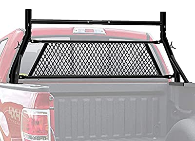 TMS Steel Universal Headache Rack for Construction Trucl Pickup Truck with Removable Protective Screen (Patent Pending) (Rack with Window Protector Set)