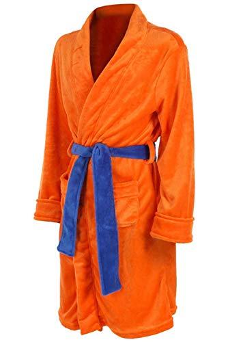 Anime Cosplay Son Goku Costume Adultos Naranja Flannela Plush Pijama con Bolsillo and Azul Cinturon Pajama,Unica talla