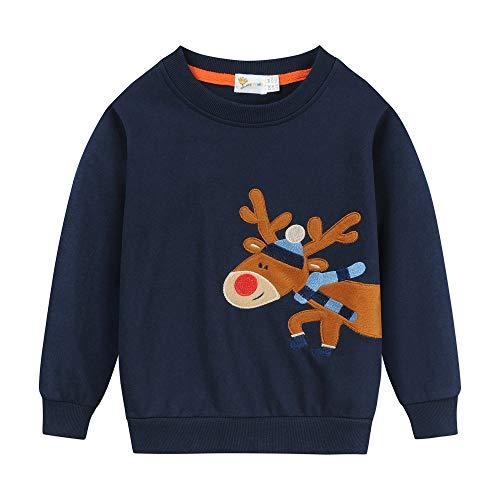 Eulla Sudadera de Navidad para bebé de 1 a 7 años #4 Weihnachts Rentier 4 años