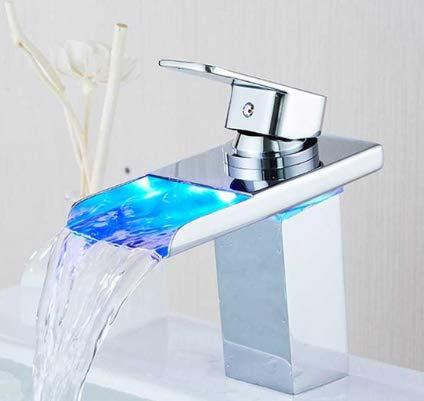 G0000D - Grifo de lavabo con luz LED luminosa, de cobre y cascada, control de la temperatura del agua, para lavabo, lavabo, lavabo, grifo mezclador de alta calidad