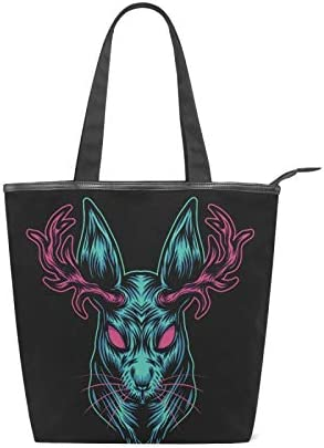 100% quality warranty Black Devil Deer Max 58% OFF Head Canvas Tote C for Women Bag High-capacity