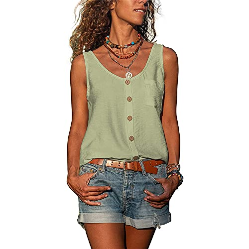 WAQD Women's Summer Tie-Dyed Vest Tank Tops Sleeveless Camisole Tee Shirts Ladies Athletic Running Gym Sportwear Casual Loose Sleeveless Blouse T Shirts Women Vest Tops Sleeveless T-Shirt Light Green