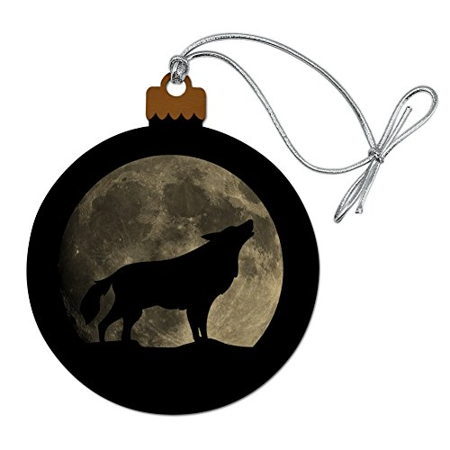 GRAPHICS & MORE Wolf Howling Moon Silhouette Wood Christmas Tree Holiday Ornament