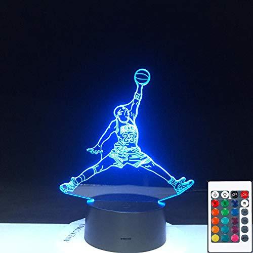 Lámpara de ilusión 3D Led Night Light Bull 23 Jordan Dunk Figura Deportes Baloncesto Decoración del hogar Regalo de cumpleaños para niños Niño Novedad