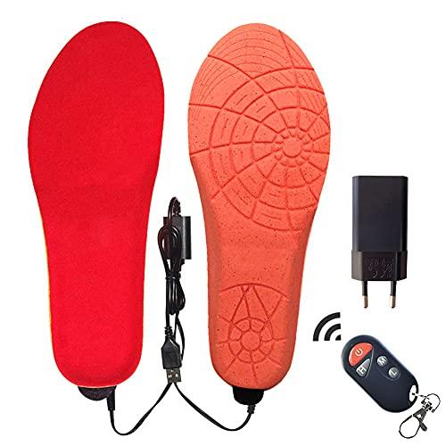 LOVEHOUGE Recargable Plantilla Calentada USB Plantilla De Calentamiento Calentador De Pies con Control Remoto Inalámbrico,3 Control De Temperatura,Rojo