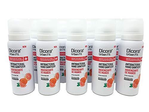 Spray para manos higienizante perfumado. Limpieza e higiene de manos con secado rápido sin aclarado. (Cítricos y melocotón, 12 botes de 75 ml)